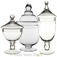 Set of Three (3) Candy Buffet Jars - Glass Apothecary Jar, Kids Party Decoration