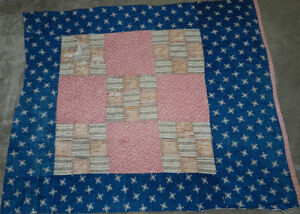 Primitive Antique Indigo Blue 9 Patch Cutter Quilt Pc Nice Old Fabrics #5 Matching In Colour