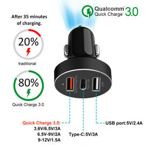 3-Port-USB-Type-C-Car-Charger-QC-3-0-Cigarette-Lighter-Adapter-for-iPhone-X-8-8