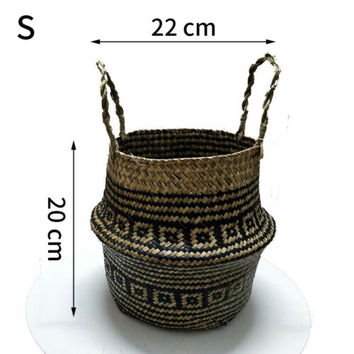 Foldable Seagrass Belly Basket For Fiddle Leaf Home Art Decor Plant Pot Cover G