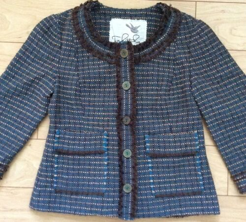 Motif Tag 4 Ulster Nouvel Tabitha Anthropologie Bleu Taille Tweed Jacket De vrvYw