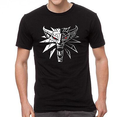Witcher 3 wild hund game wolf logo, Geralt Wiedzmin gamer mens black t-shirt