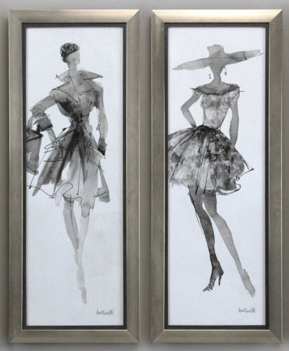 "FOUR NEW LARGE 40/"" RICH FASHION PRINTS MODERN FRAMES SKETCH STYLE UNDER GLASS"