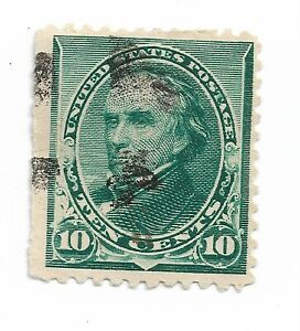 1890-1893-Green-10-Cent-Daniel-Webster-US-Stamp-Scott-226-hinged-fancy-cancel