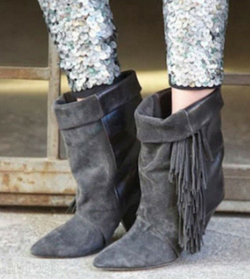 Gladiator Womens Suede Leather High Heels Fringe Pointy Toe Mid Calf Boots Shoes