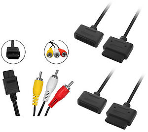 Super-Nintendo-AV-Cinch-Kabel-2x-Verlaengerungskabel-fuer-SNES
