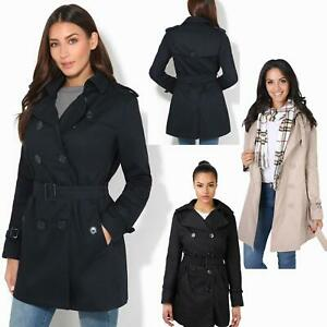 Details about Womens Stylish Retro Tailored Trench Mac Coat Double Breasted Jacket Autumn 8 18