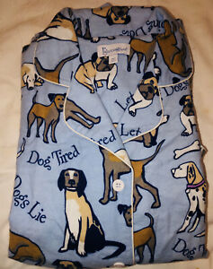 NEW-Pajamagram-2PC-Blue-Dog-Tired-Flannel-Pajama-Set-Size-M-Women-039-s