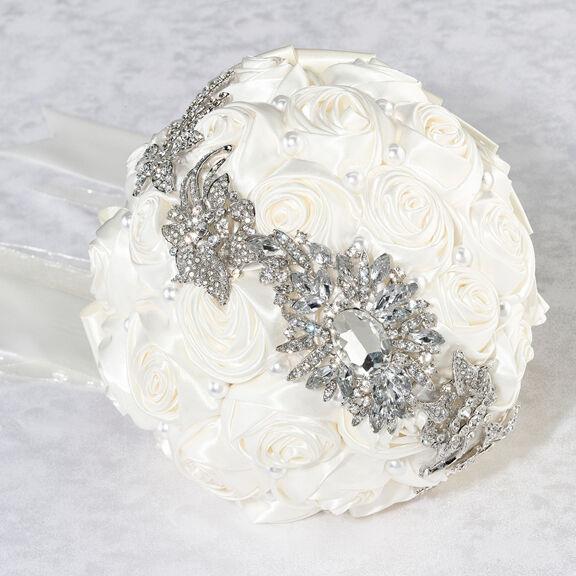 Pearl Rhinestone Satin Rose Cream Wedding Bouquet Bridal Bride Flowers