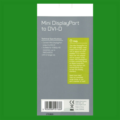 Maplin Mini DisplayPort to DVI-D Cable 1080p HD Resolution for Apple Mac//Monitor