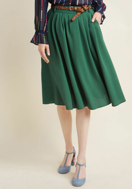c4ee9c3b2 NWT ModCloth Size Medium Breathtaking Tiger Lilies Belted Midi Skirt Stem  Green