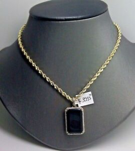 Sterling Silver Round Black Onyx Pendant. 1.8INx1.3IN