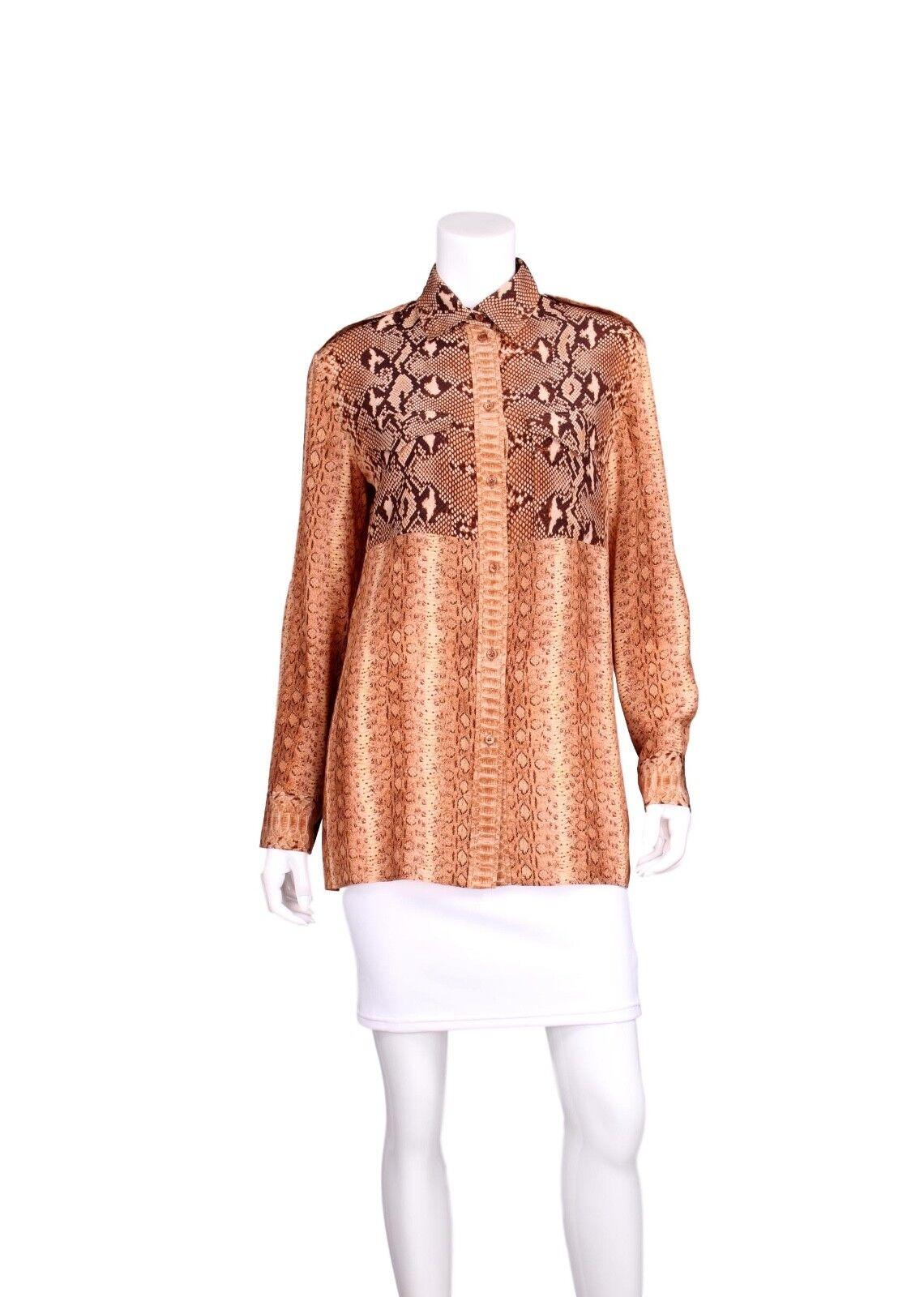CHLOE Brown & orange Snakeprint Patchwork Long Sleeve Button Up Silk Top - US 8