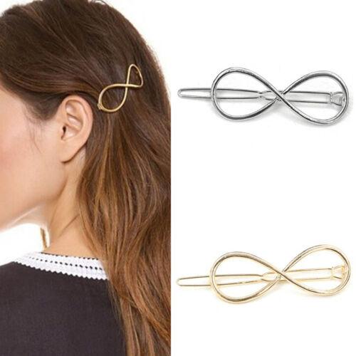 Fashion Women Hair Clip Positive Infinity Gold Barrette Hairpins Charm VG