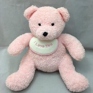 I love you pink teddy bear bib white embroidered eyes soft plush 13 image is loading i love you pink teddy bear bib white altavistaventures Images