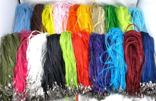 Wholesale 10//100pcs variété de couleurs ruban voile Collier Cordon Fit Chaînes 46 cm