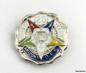 Ordine-Stella-D-039-Oriente-Argento-Sterling-25-Anni-Oes-Arizona-Membro-Massonico