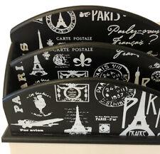 Desk Organizer 2 Slot Wooden Mail Letter Sorter Holder Black Paris Motif
