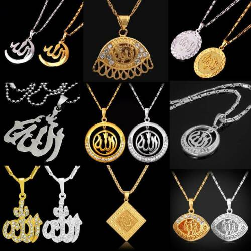 Necklace Allah Pendant Necklace Necklace Strass Stone Islam Moslem Gold