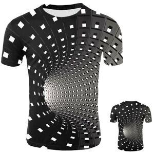 Herren-Damen-Wirbel-Gitter-3D-Druck-Vision-T-Shirts-Kurzarm-Graphic-Tee-Tops