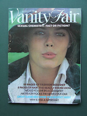 VANITY FAIR MAGAZINE SEPT 1971 RETRO FASHIONS, HEALTH FOOD, COMMUNAL LIVING ETC