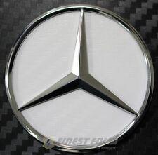 Carbon Weiß Mercedes Stern Lenkrad Emblem Ecken MB - AMG E190 NEU 46mm