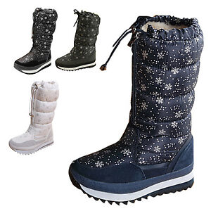 Womens-Ladies-Quilted-Mid-calf-Flat-Winter-Snow-Boots-Plush-Warm-Non-Slip-Shoes