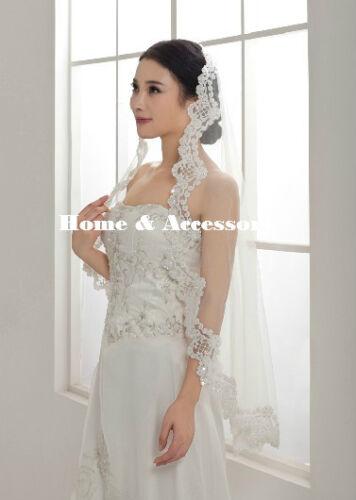 1 Tier Bridal Wedding Veil with Lace Applique Edge