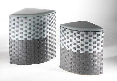 Eck Wäschekorb mit Sitzpolster Wäschetruhe Wäschesammler Wäschebox Hocker