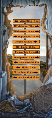 Türtapete Ortsschilder Türposter   selbstklebend Tapete Lustig Dorf Stadt 1652tp