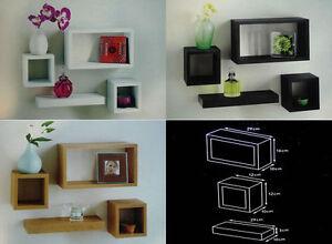 Modern-Set-Of-4-Floating-Wall-Shelves-Storage-Display-Cube-Shelf-White-Black-Oak