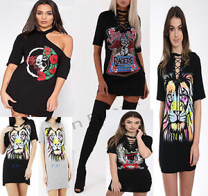 26e7702a186 Women Choker V Neck Casual Loose Tops T-Shirt Skull Rose Plunge Mini ...