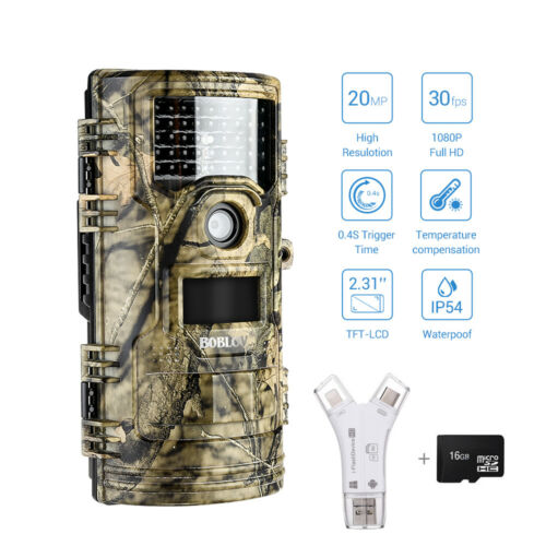 20MP 1920x1080p Trail Camera Night Vision Wildlife Hunting Cam+16GB+SD Reader AU