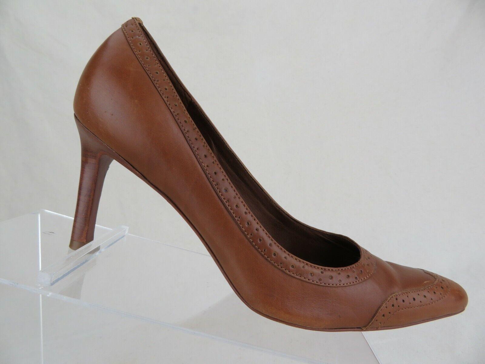 RALPH LAUREN Wingtip Pump Brown Sz 6.5 B Women Stilleto Heels