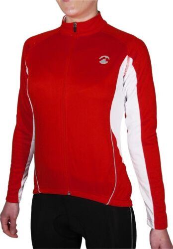 Piu Miglia Women/'s Full Zip Thermal Long Sleeve Ladies Red Cycling Jersey Top