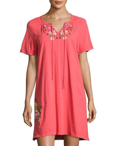 JWLA Johnny Was Embroidered Drawstring Peasant Dress Pink Coral NWT 1X 2X 3X