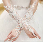 HX Women Lace Rhinestone Long Fingerless Wedding Accessory Bridal Party Gloves