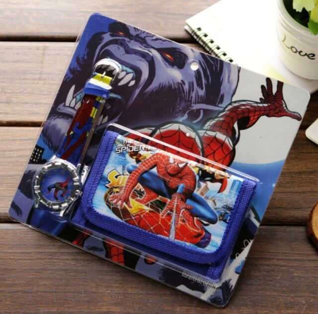 Spiderman Children's Projector Watch and Wallet Gift Set For Kids Boys Girl's
