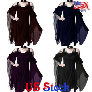 Women-Lady-V-Neck-Long-Sleeve-Gothic-Loose-Tunic-Top-Dress-Blouse-Steampunk-Punk