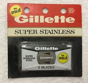 Vintage-Gillette-Super-Stainless-Razor-Blades-The-Spoiler-5-Blades-in-Package