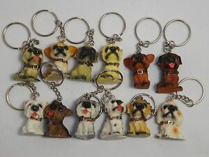 12-Dog-Puppy-Keyrings-Keychains-PARTY-BAG-TOYS-GIFTS-FAVOURS