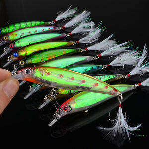 10pcs minnow feather dive bait bass tackle fishing lures for Bulk fishing tackle