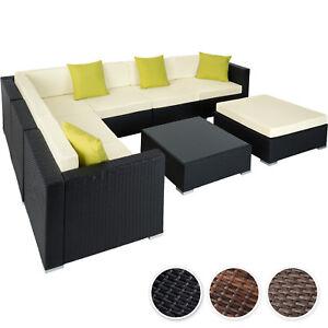 Détails sur Ensemble salon de jardin aluminium résine tressée poly rotin  table sofa