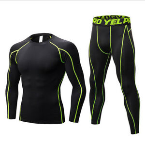 Men-Quick-Dry-Compression-Tight-Cycling-Gym-Sport-Suit-Base-Layer-Tracksuit-Set