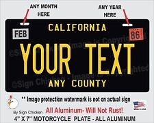 California Black YOUR TEXT Personalized Custom Aluminum License Plate MOTORCYCLE