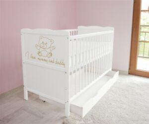 Babybett-Kinderbett-Juniorbett-120x60-Weiss-3x1-Schublade-Matratze-A