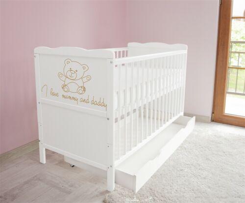 Matratze 1 Babybett Kinderbett Juniorbett 120x60 Weiß  3x1 Schublade