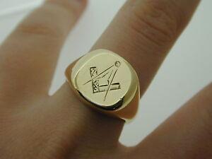 Vintage-Masonic-9-Carat-Yellow-Gold-Ring-size-Q-1-2-1953-Heavy-13-7-grams