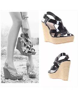 Vince-Camuto-Hattie-Ankle-Strap-Wedge-Sandals-Black-Espadrilles-Sz-11B-41-New