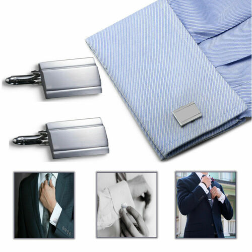Esmoquin de negocios Formal Suit Rectangular Brazalete botones de acero inoxidable Gemelos